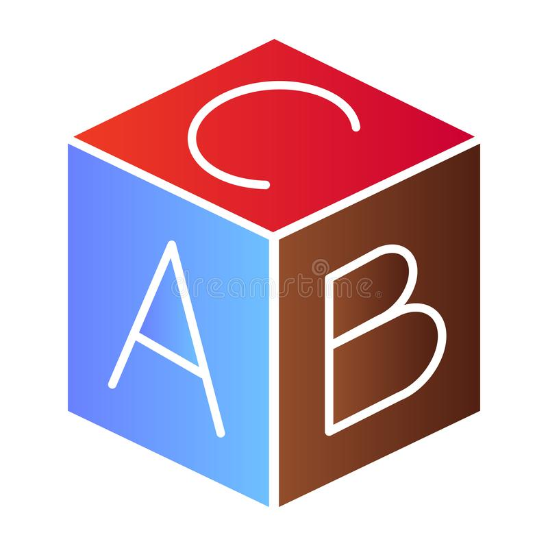 Ic?ne plate de bloc d'alphabet d'enfants Icônes de couleur de cube en jouet dans le style plat à la mode Conception ?ducative de  illustration stock