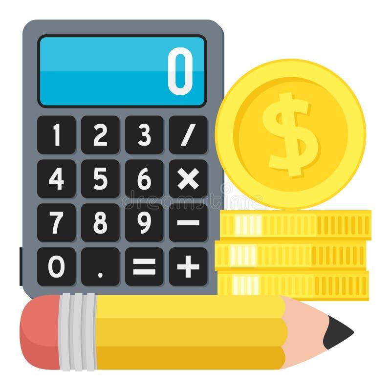 Icône plate de calculatrice, de crayon et de pièces de monnaie sur le blanc illustration de vecteur