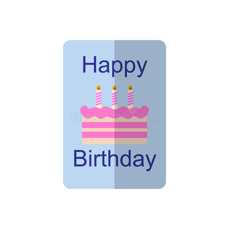Icône plate de carte d'anniversaire, signe rempli de vecteur, pictogramme coloré d'isolement sur le blanc illustration stock