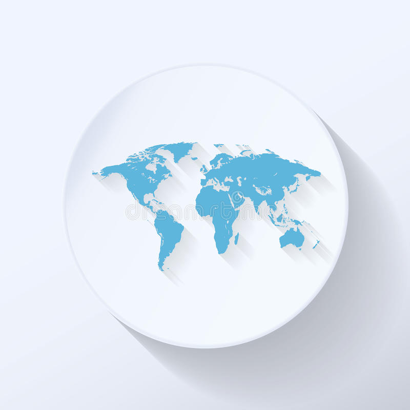 Icône plate de carte du monde illustration stock