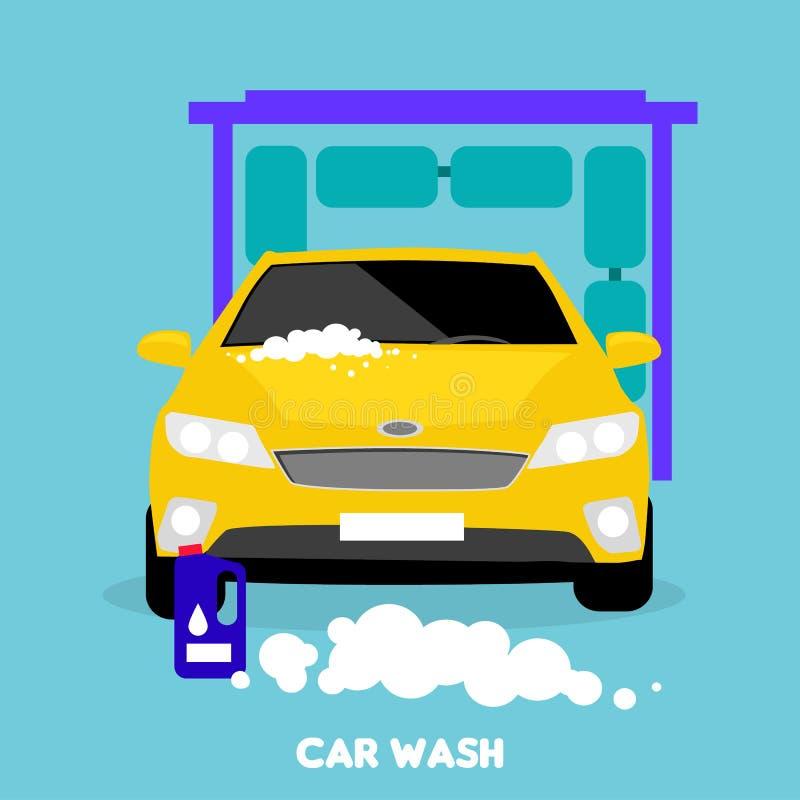 Icône plate de concept de station de lavage illustration libre de droits