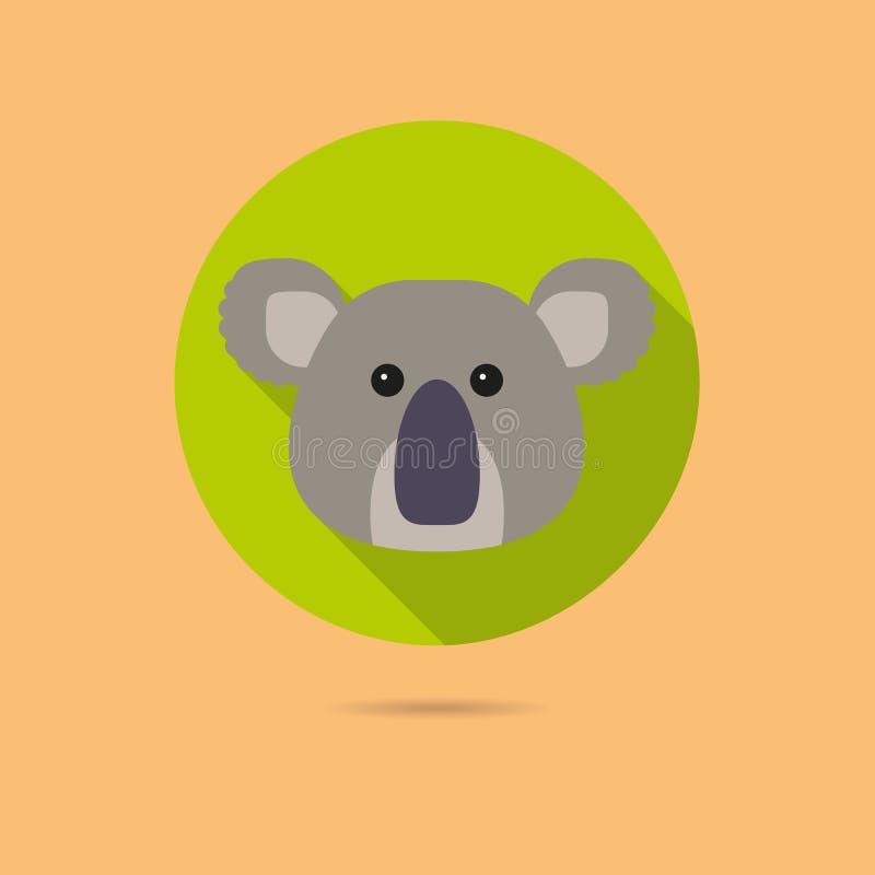 Icône plate de conception de visage d'ours de koala illustration libre de droits