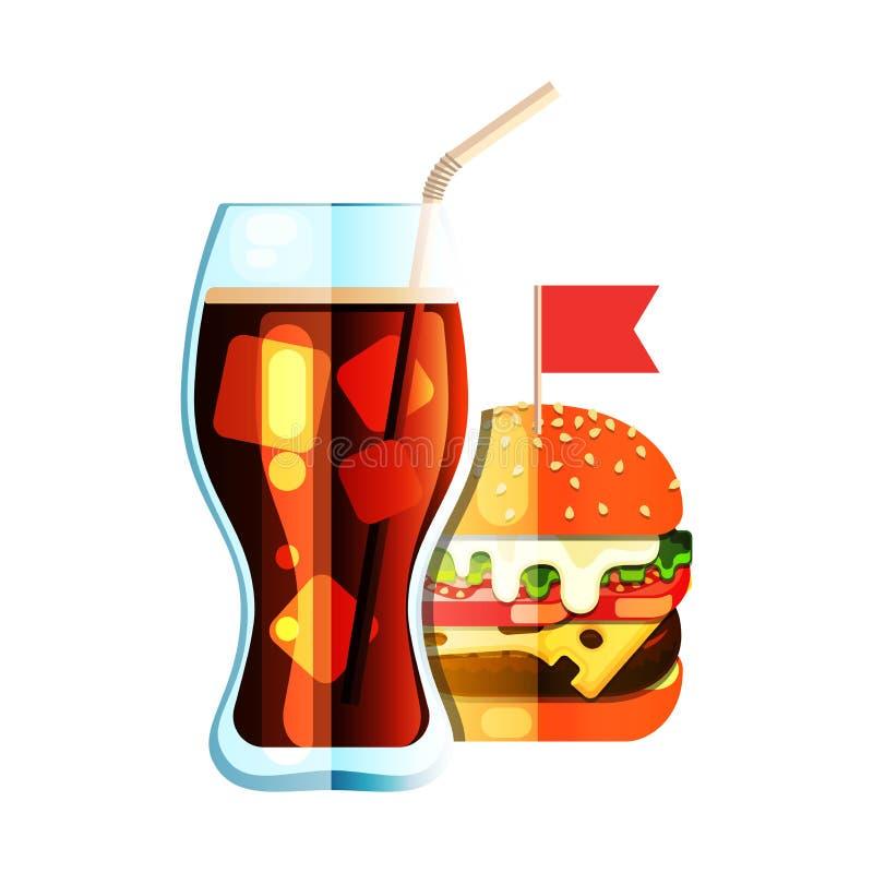 Ic?ne plate de couleur de conception de soude et d'hamburger illustration stock