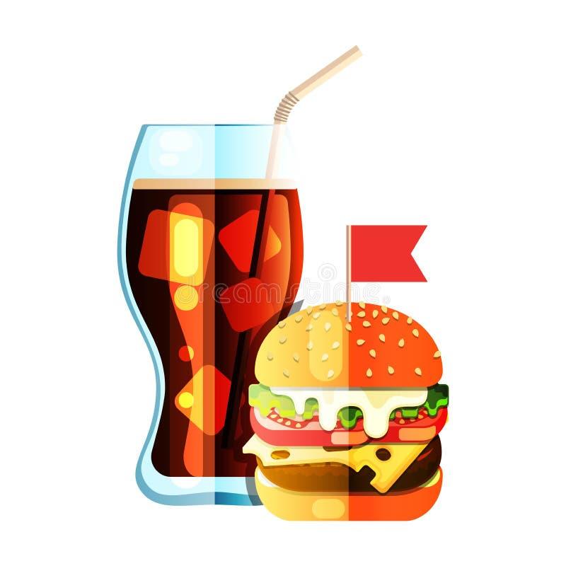 Ic?ne plate de couleur d'hamburger et de conception de soude illustration libre de droits