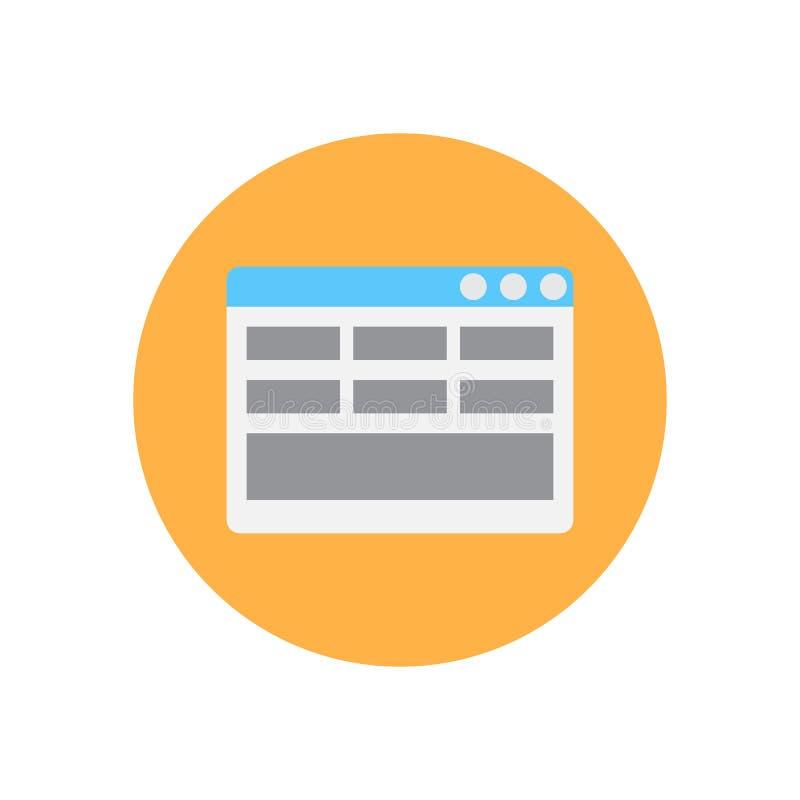 Icône plate de disposition de page Web Bouton coloré rond, signe circulaire de vecteur, illustration de logo illustration stock