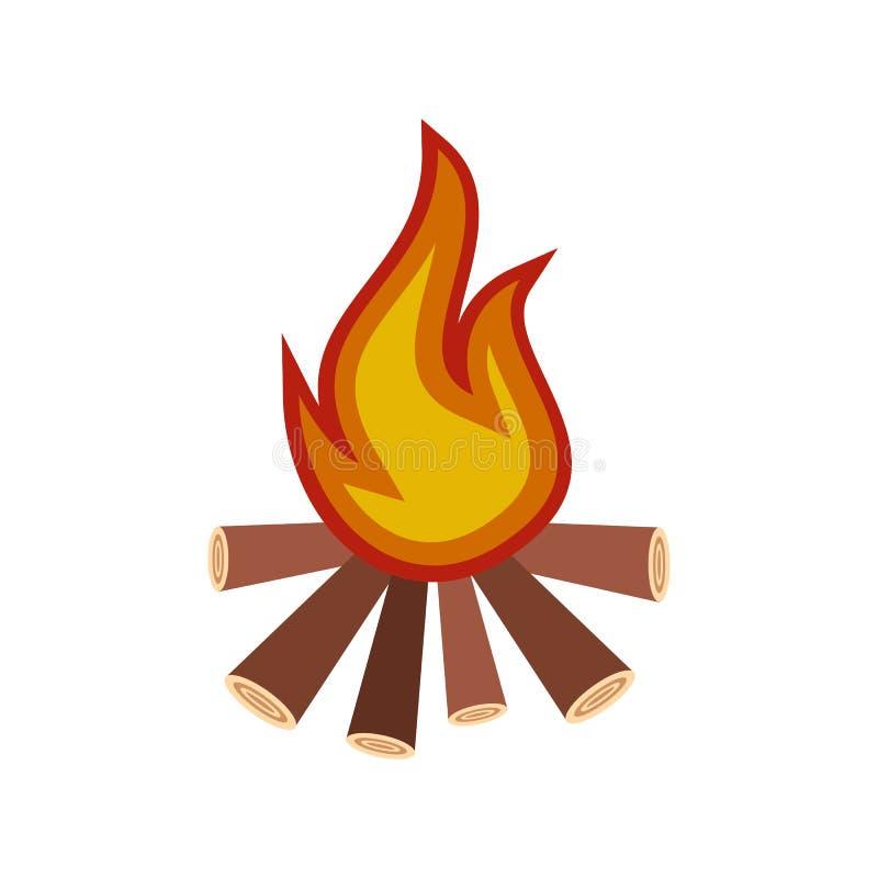 Icône plate de feu brûlant illustration de vecteur