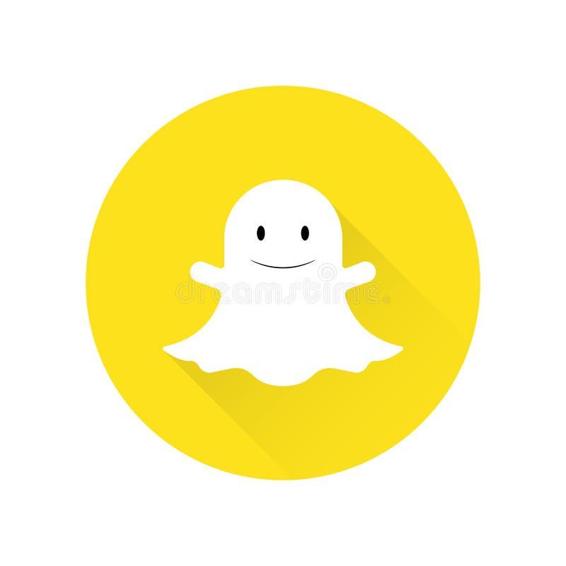 Icône plate de Ghost sur le fond blanc illustration libre de droits