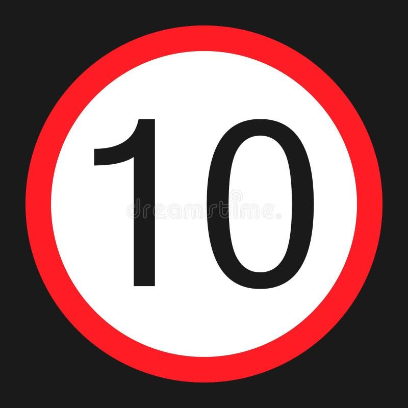 Icône plate de la limite 10 de vitesse maximale illustration stock