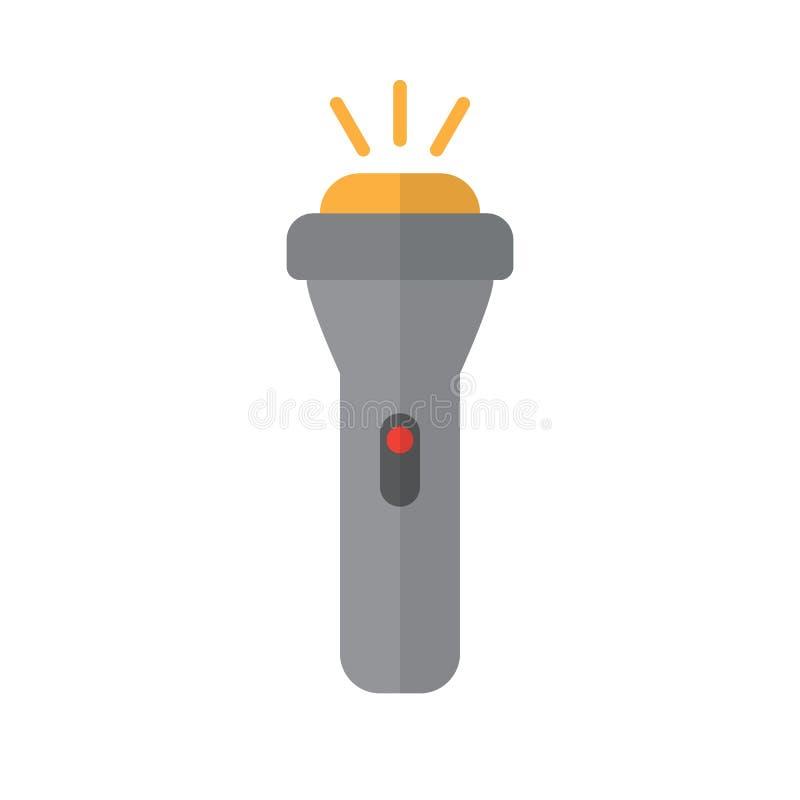 Icône plate de lampe-torche, signe rempli de vecteur, pictogramme coloré d'isolement sur le blanc illustration stock