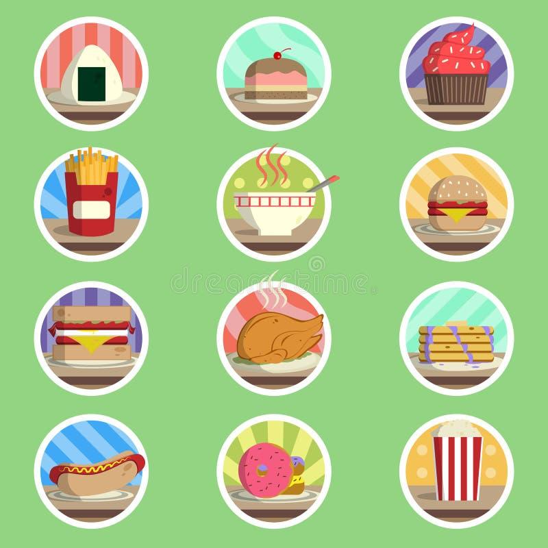 Icône plate de menu de nourriture illustration stock