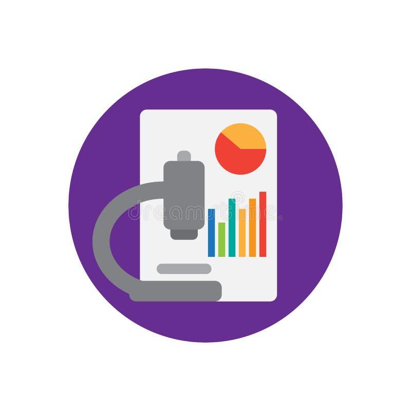 Icône plate de microscope et de diagrammes Bouton coloré rond, signe circulaire de vecteur d'analyse de données, illustration de  illustration libre de droits