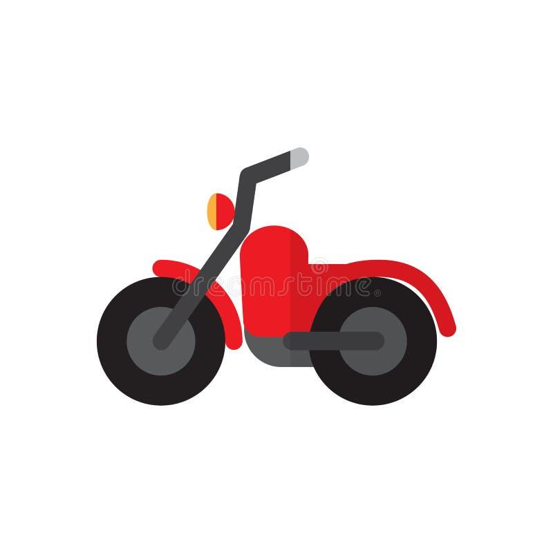 Icône plate de motocyclette, signe rempli de vecteur, pictogramme coloré d'isolement sur le blanc illustration stock