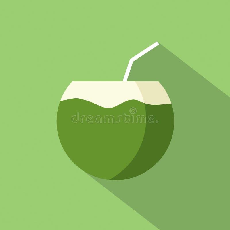 Icône plate de noix de coco de conception illustration libre de droits