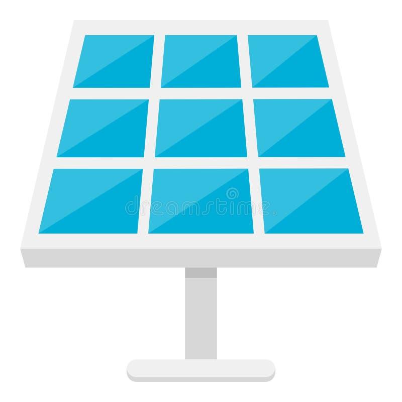 Icône plate de panneau solaire d'isolement sur le blanc illustration de vecteur