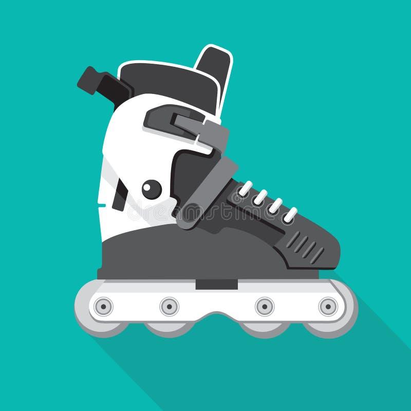 Icône plate de patins de rouleau illustration de vecteur
