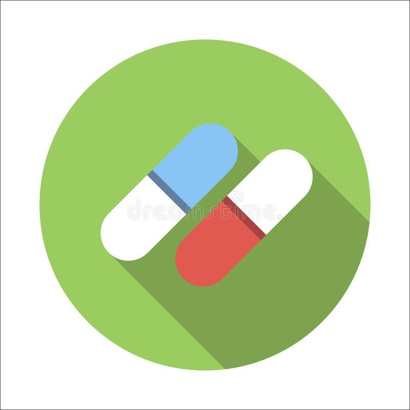 Icône plate de pilules illustration libre de droits