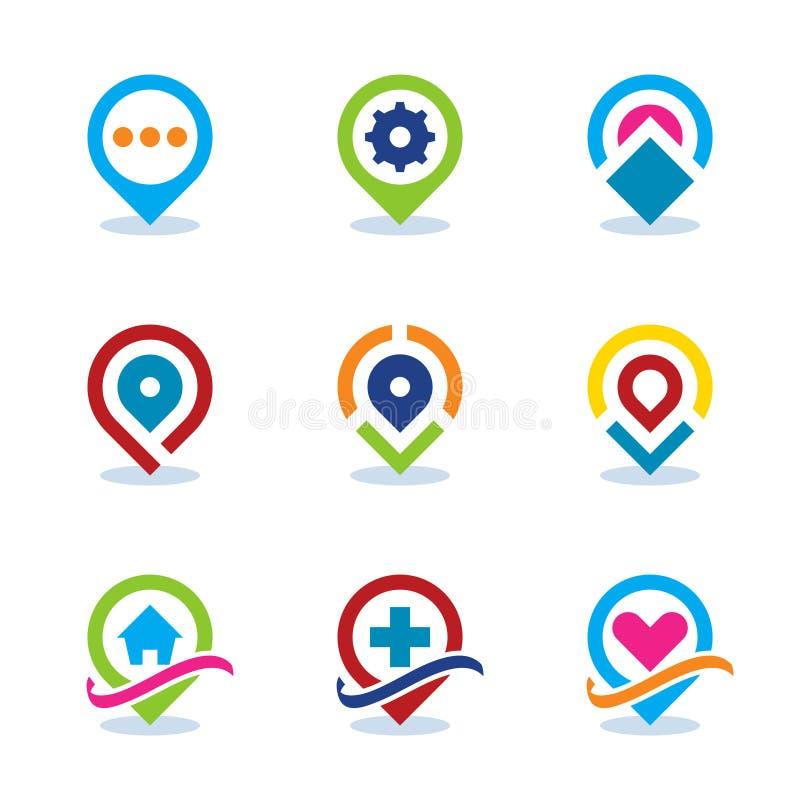 Icône plate de position sociale de la communauté Internet de repère de carte du monde moderne APP EPS10 illustration libre de droits
