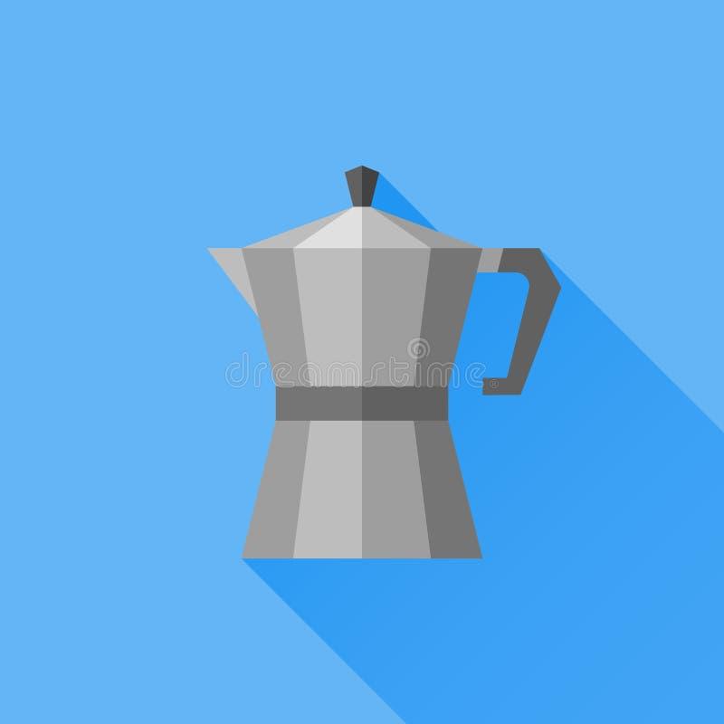 Icône plate de pot italien de café avec la longue ombre Générateur de café illustration de vecteur