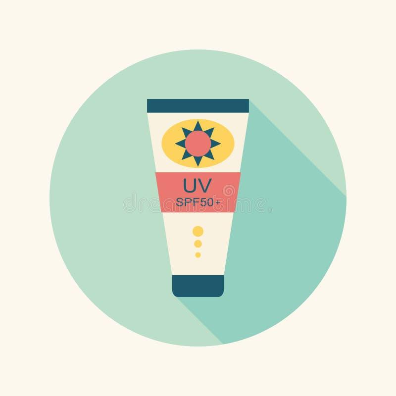 Icône plate de protection solaire avec la longue ombre illustration libre de droits