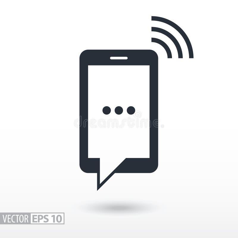 Icône plate de SMS Téléphone portable de signe Dirigez le logo pour le web design, le mobile et l'infographics illustration libre de droits