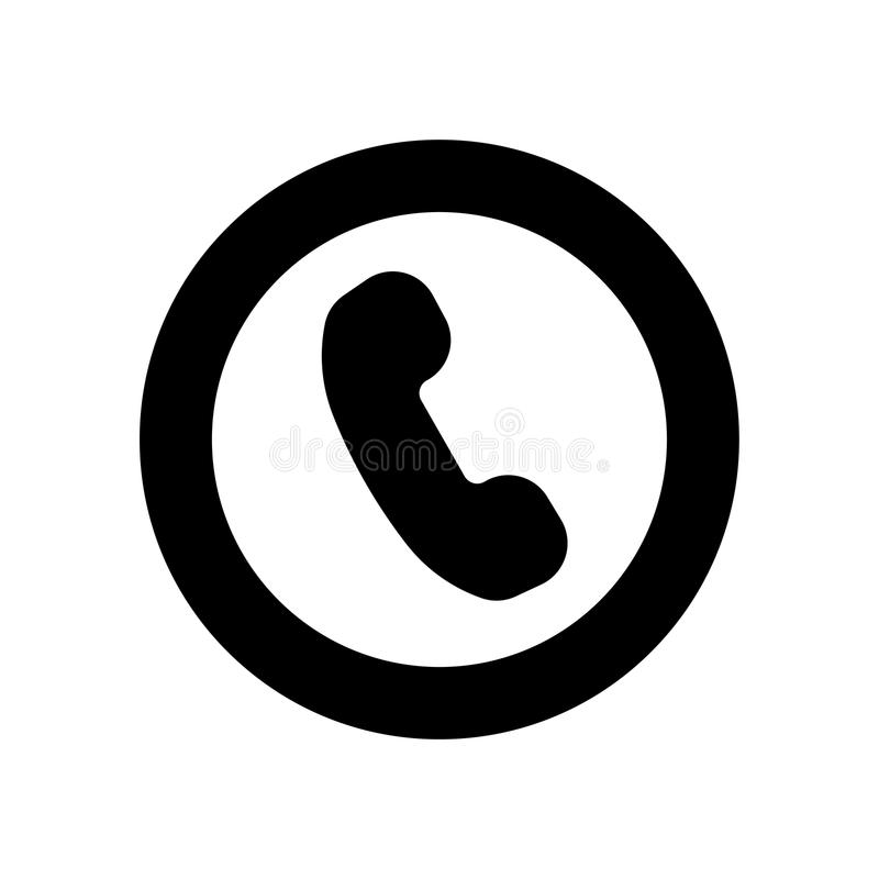 Icône plate de téléphone Symbole noir de vecteur de téléphone illustration libre de droits