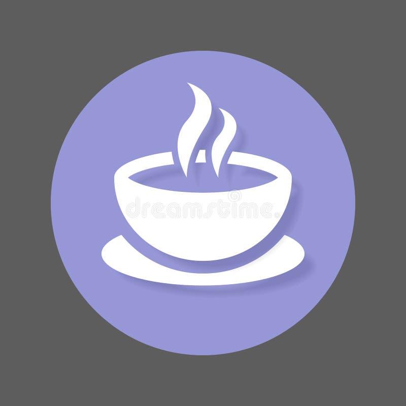 Icône plate de tasse de café Bouton coloré rond, signe circulaire de vecteur de café avec l'effet d'ombre Conception plate de sty illustration stock