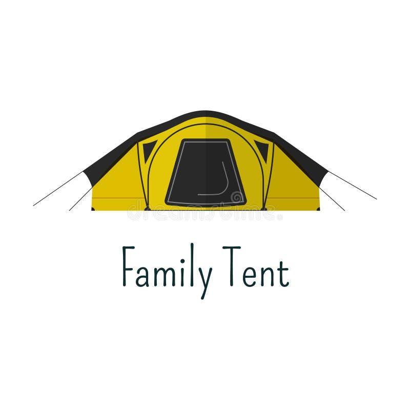 Icône plate de tente de famille Pictogramme de couleur de tente de camping illustration stock