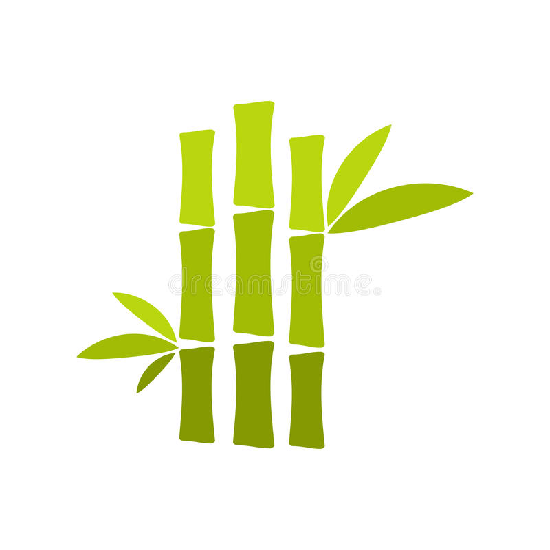 Icône plate de tige en bambou verte illustration stock