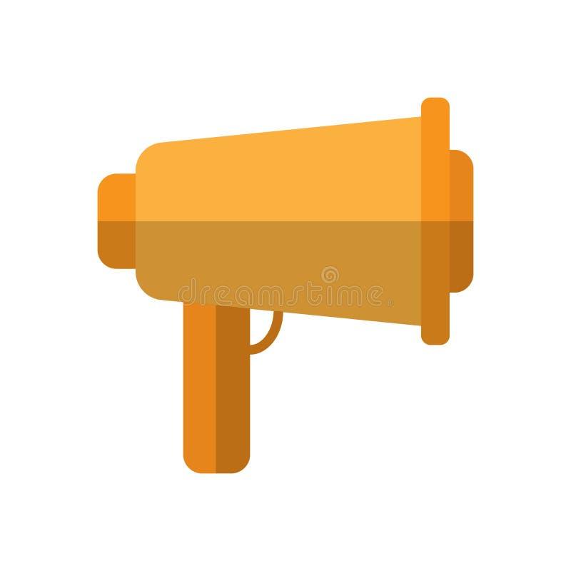 Icône plate de trompette parlante, signe rempli de vecteur, pictogramme coloré d'isolement sur le blanc illustration stock