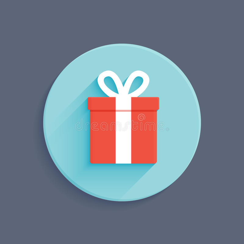 Icône plate de vecteur de boîte-cadeau de style illustration de vecteur