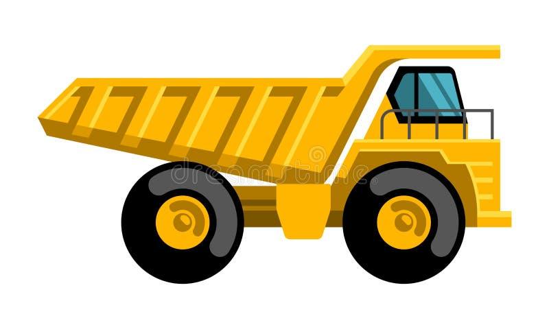 Icône plate de vecteur de conception de camion à benne basculante d'exploitation illustration de vecteur