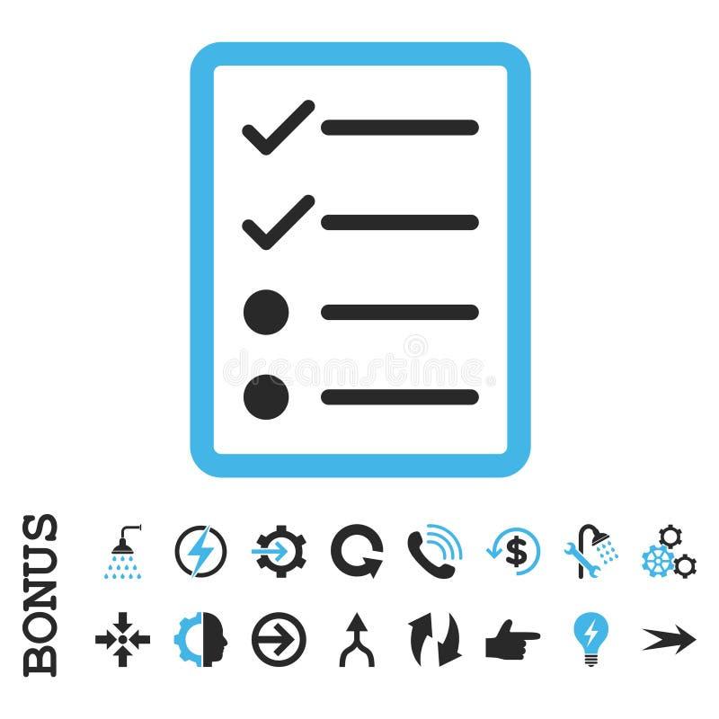Icône plate de vecteur de page de liste de contrôle avec la bonification illustration libre de droits