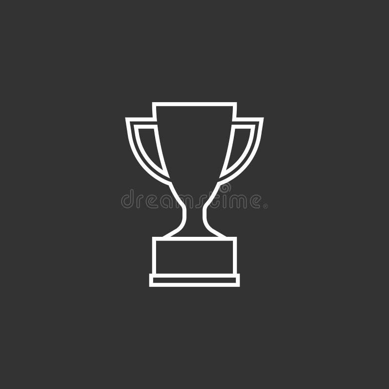 Icône plate de vecteur de tasse de trophée dans la ligne style illustration libre de droits