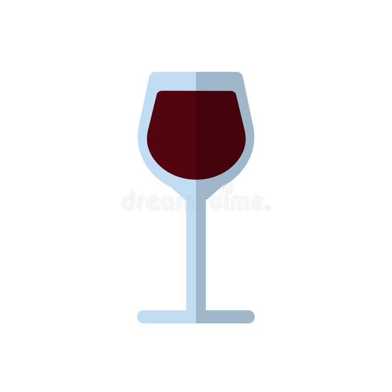 Icône plate de verre à vin, signe rempli de vecteur, pictogramme coloré d'isolement sur le blanc illustration libre de droits
