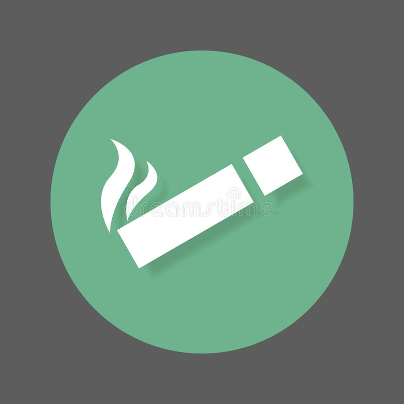 Icône plate de zone fumeur Bouton coloré rond, signe circulaire de vecteur avec l'effet d'ombre Conception plate de style illustration libre de droits