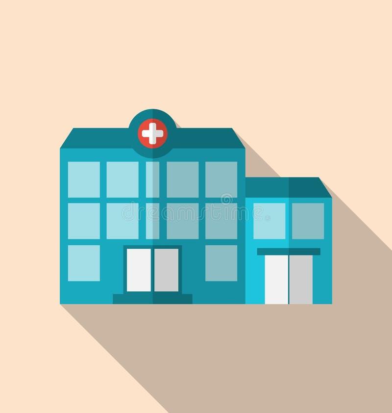 Icône plate du bâtiment d'hôpital avec la longue ombre illustration de vecteur