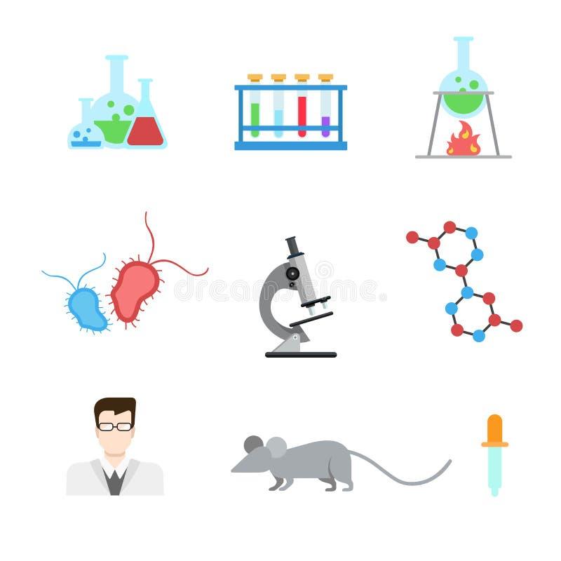 Icône plate du Web APP d'expérience de recherches de laboratoire de vecteur : Laboratoire d'ADN illustration de vecteur