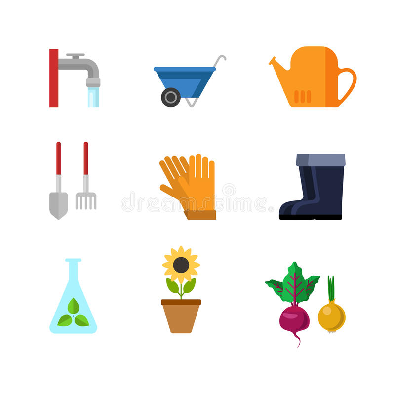 Icône plate du Web APP d'outils de jardinage de vecteur : tournesol de bottes en caoutchouc illustration libre de droits