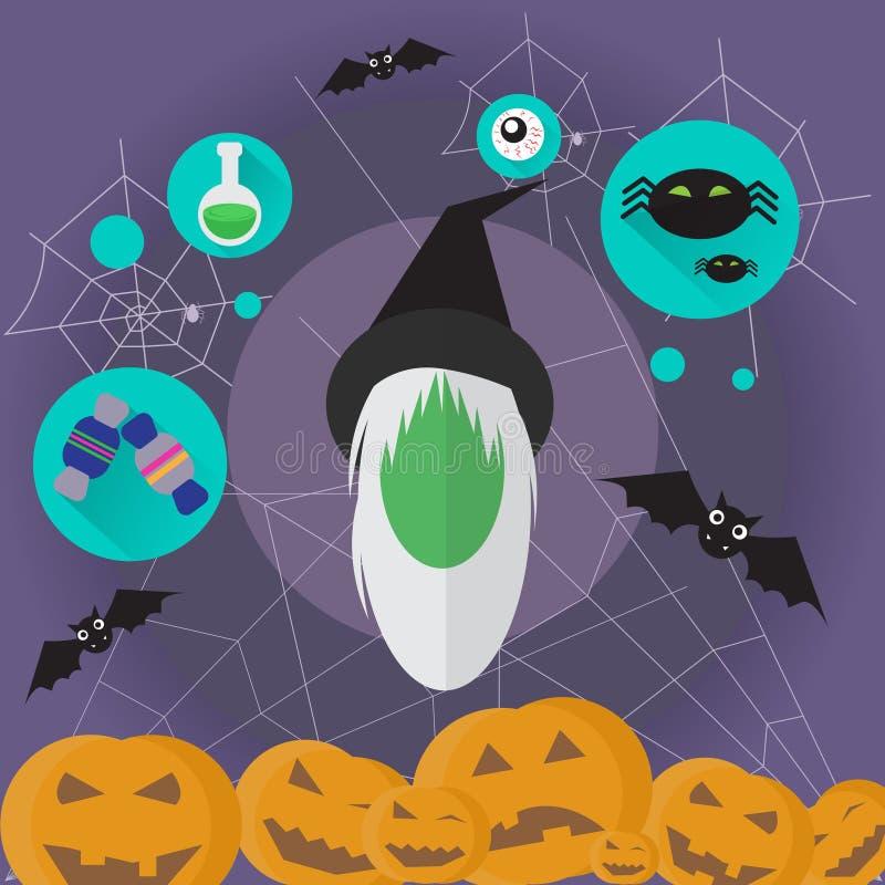 Download Icône Plate Halloween De Magicien De Femme De Sorcière Illustration de Vecteur - Illustration du humain, ghost: 77158790