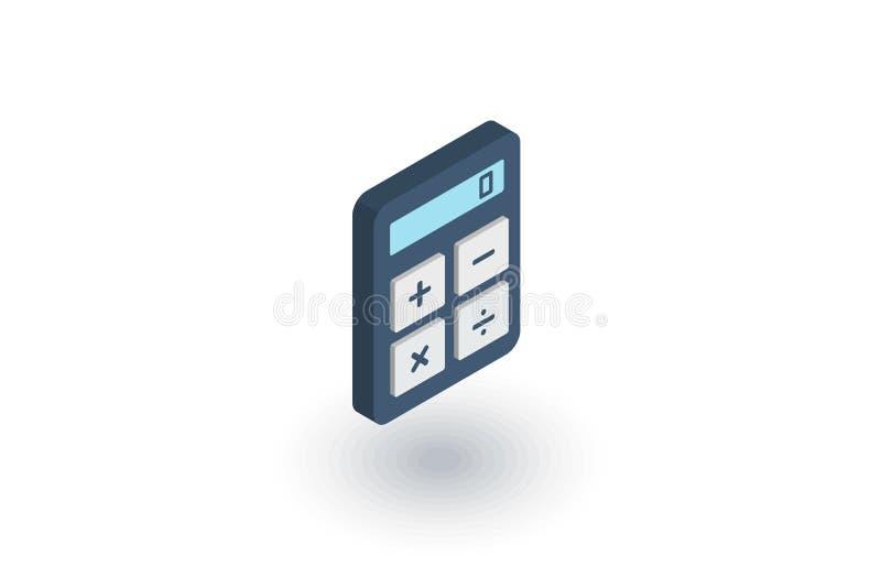 Icône plate isométrique de calculatrice vecteur 3d illustration de vecteur