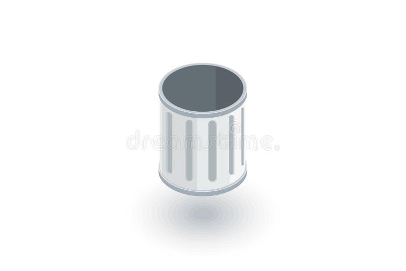 Icône plate isométrique de déchets vides vecteur 3d illustration de vecteur