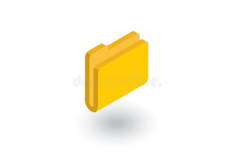 Icône plate isométrique de dossier jaune vecteur 3d illustration de vecteur