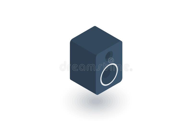 Icône plate isométrique de haut-parleur de Subwoofer vecteur 3d illustration de vecteur