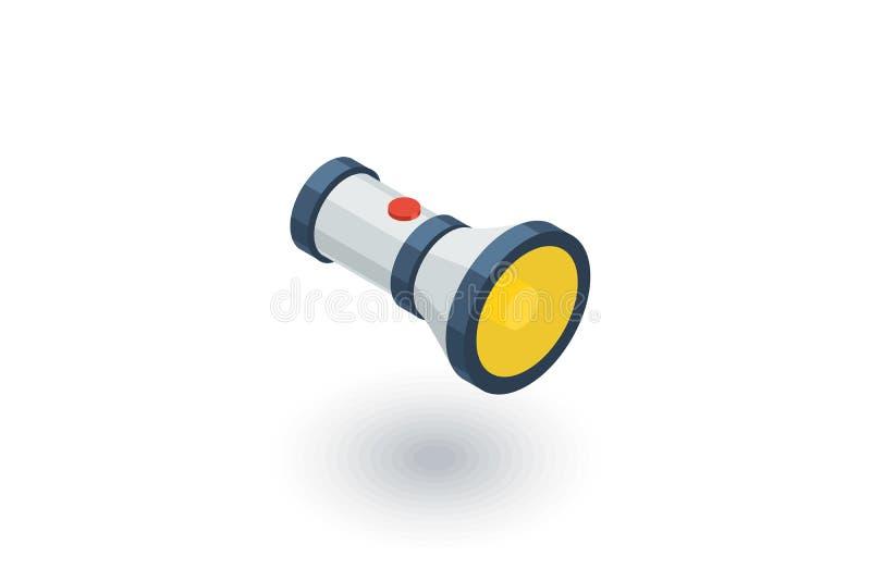 Icône plate isométrique de lampe-torche vecteur 3d illustration libre de droits