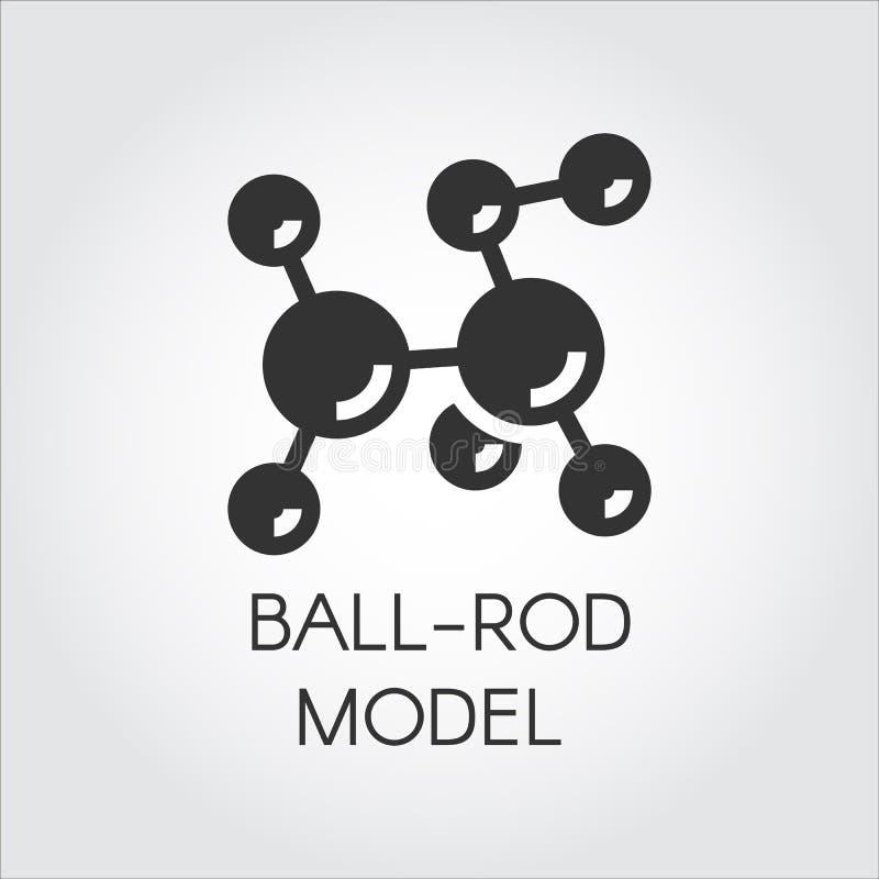 Icône plate noire de modèle moléculaire de boule-tige Vecteur pour des projets scientifiques et éducatifs de concept illustration stock
