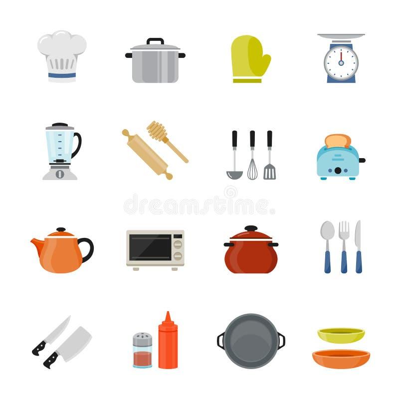 Icône plate polychrome de conception de vaisselle de cuisine. illustration libre de droits