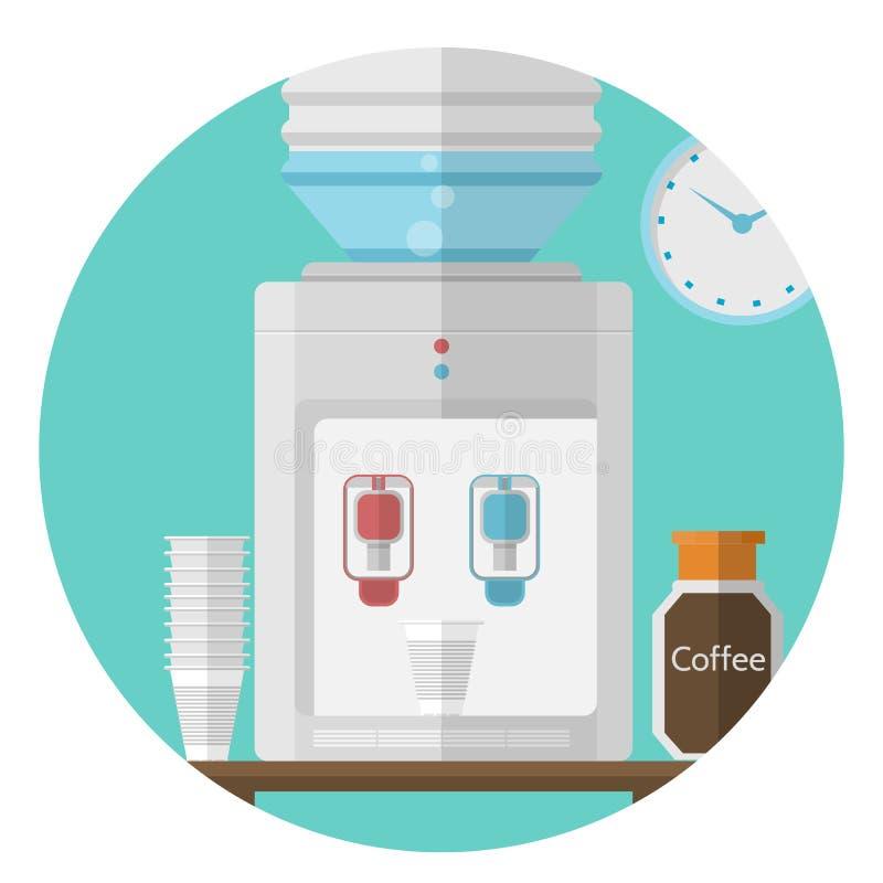 Icône plate pour le bureau Refroidisseur d'eau illustration de vecteur