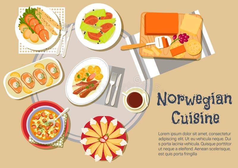 Icône plate traditionnelle norvégienne de dîner de Noël illustration stock
