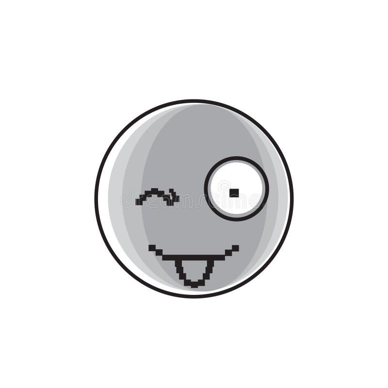 Icône positive de sourire d'émotion de personnes de langue d'exposition de visage de bande dessinée illustration stock