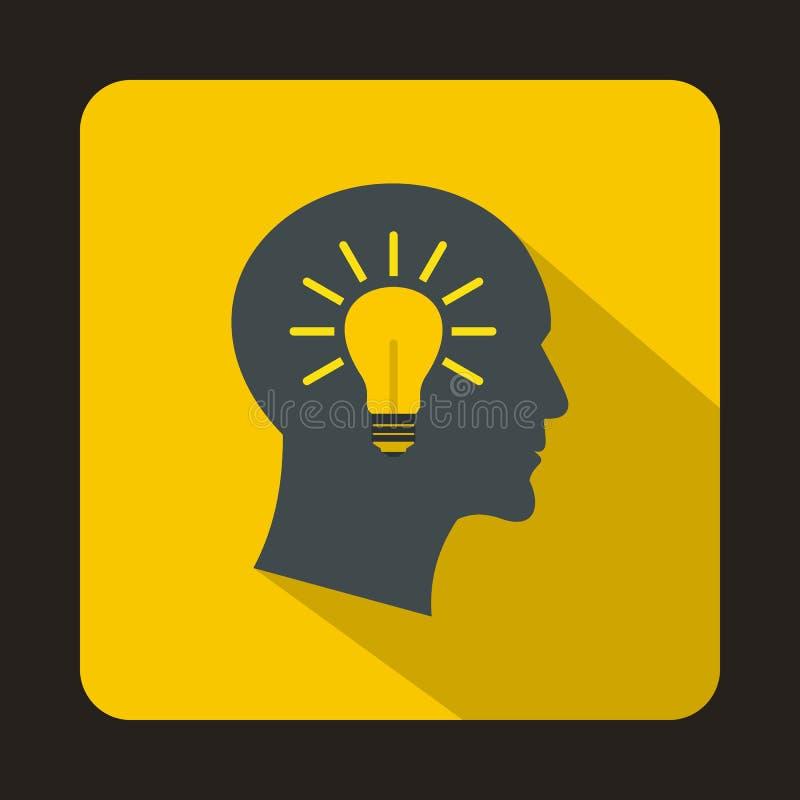Icône principale d'idée d'ampoule, style plat illustration libre de droits